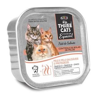Alimento Úmido Three Cats Patê Bola De Pelo Sabor Salmão Para Gatos Adultos