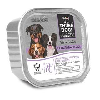 ALIMENTO ÚMIDO THREE DOGS PATê DIGESTãO FAVORECIDA SABOR CORDEIRO PARA CãES ADULTOS