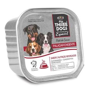 ALIMENTO ÚMIDO THREE DOGS PATê PALADAR EXIGENTE SABOR CARNE PARA CãES ADULTOS
