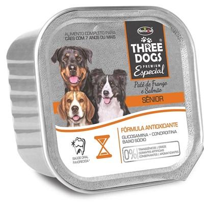 Alimento Úmido Three Dogs Patê Sabor Frango e Salmão Para Cães Sênior