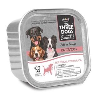 Alimento Úmido Three Dogs Patê Sabor Frango Para Cães Adultos Castrados