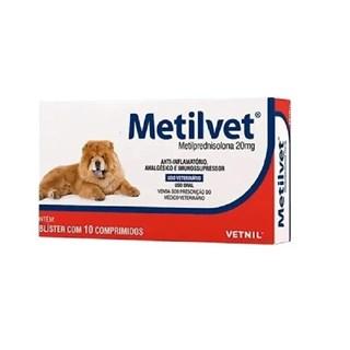 Anti-Inflamatório Vetnil Metilvet 20mg para Cães - 10 Comprimidos