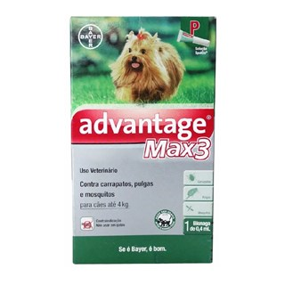 Anti-Pulgas Bayer Advantage Max3 Para Cães Até 4kg - 0.4ml Bayer