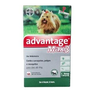 Anti-Pulgas Bayer Advantage Max3 Para Cães Até 4kg - 0.4ml Bayer