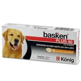 Antiparasitário Konig Basken Plus 40 Para Cães e Gatos - 4 Comprimidos
