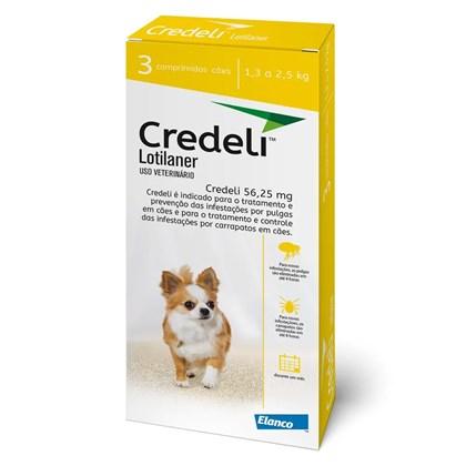 Antipulgas e Carrapaticida Elanco Credeli Lotilaner 56.25mg Para Cães De 1.3 a 2.5kg