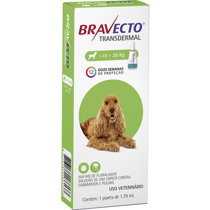 Antipulgas e Carrapatos Bravecto Transdermal Para Cães De 10 a 20kg