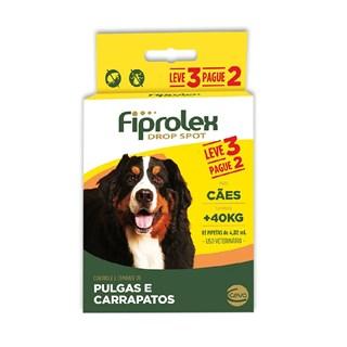 Antipulgas e Carrapatos Fiprolex Drop Spot Leve 3 Pague 2 Para Cães Acima De 40kg