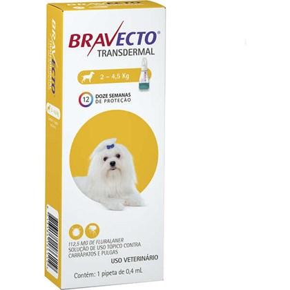 Antipulgas e Carrapatos MSD Bravecto Transdermal para Cães de 2 a 4.5 Kg