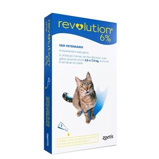 Antipulgas e Carrapatos Zoetis Revolution 6% Para Gatos De 2.6 a 7.5kg