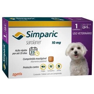 Antipulgas Zoetis Simparic 10mg Para Cães De 2.6 a 5kg