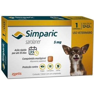 Antipulgas Zoetis Simparic 5mg Para Cães De 1.3 a 2.5kg