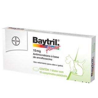 Baytril Flavour Cães e Gatos 15mg ? 10 Comprimidos _ Antibiótico Bayer