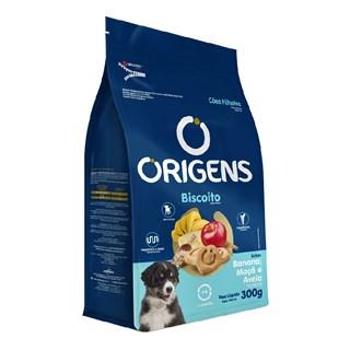 Biscoito Origens Premium Sabor Banana. Maçã e Aveia para Cães Filhotes