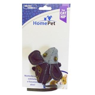 Brinquedo Jolitex Homepet Rato Jeans Com Catnip 7.5cm Para Gatos