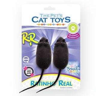 Brinquedo Pet Injet Ratinho Real Para Gatos C/ 2