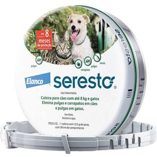 Produto Coleira Antipulgas e Carrapatos Elanco Seresto para Cães e Gatos até 8 Kg