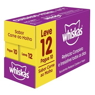 KIT SACHê WHISKAS SABOR CARNE LEVE 12 PAGUE 10 PARA GATOS