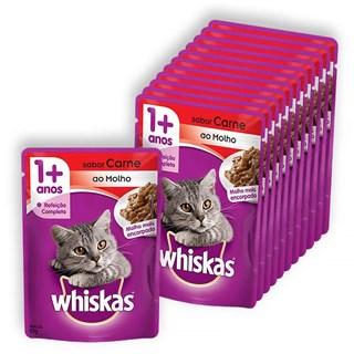 Kit Sachê Whiskas Sabor Carne Leve 12 Pague 10 Para Gatos