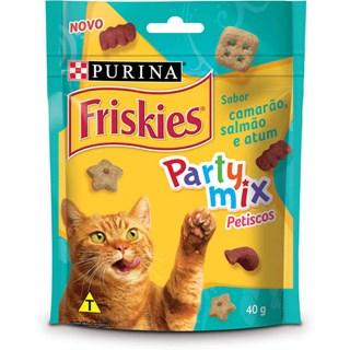 Petisco Purina Friskies Sabor Party Mix De Camarão. Salmão e Atum Para Gatos Adultos