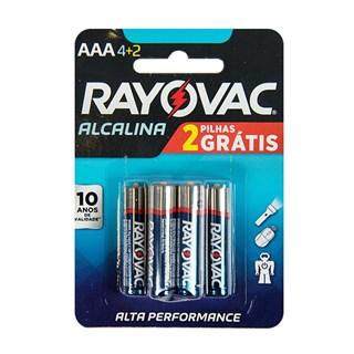 Pilha Rayovac Alcalina AAA Alta Performance Promoção Leve 6 Pague 4