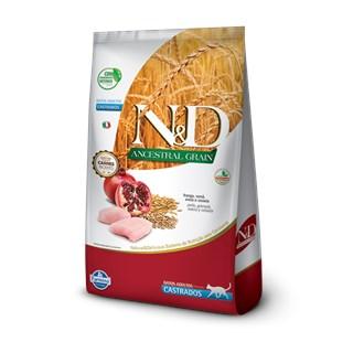 Ração Farmina N&d Ancestral Grain Sabor Frango e Romã Para Gatos Adultos Castrados