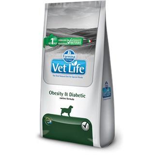 Ração Farmina Vet Life Natural Obesity & Diabetic para Cães Adultos Obesos ou Diabéticos