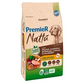 Ração Premier Nattu Sabor Mandioca para Cães Adultos de Raças Médias e Grandes