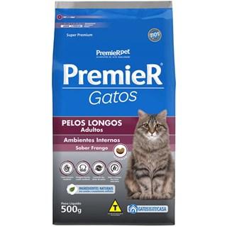 Ração Premier Pet Gatos Ambientes Internos Pelos Longos Adultos Frango
