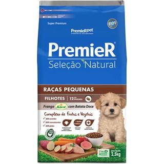Ração Premier Pet Seleção Natural Sabor Frango Korin Com Batata Doce Para Cães Filhotes De Raças Pequenas