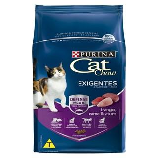 Ração Purina Cat Chow Sabor Frango. Carne e Atum Para Gatos Adultos Exigentes