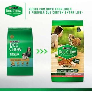 Ração Purina Dog Chow Carne e Arroz Para Cães Filhotes De Raças Pequenas