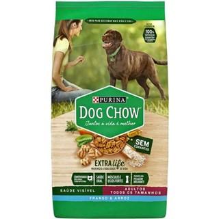 Ração Purina Dog Chow Extra Life Sabor Frango e Arroz para Cães Adultos