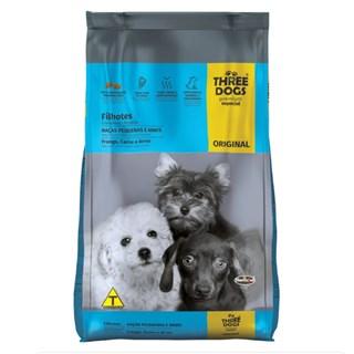 Ração Three Dogs Original Sabor Frango. Carne e Arroz para Cães Filhotes de Raças Mini e Pequenas