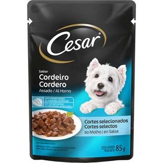 Ração úmida Cesar Sachê Cortes Selecionados Sabor Cordeiro Assado ao Molho para Cães Adultos