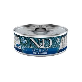 Ração Úmida Lata Farmina N&D Ocean Atum & Camarão para Gatos Adultos