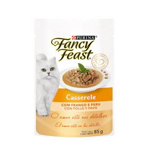 Racão úmida Nestlé Purina Fancy Feast Sachê Casserole com Frango e Peru para Gatos Adultos