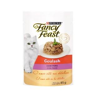 Racão úmida Nestlé Purina Fancy Feast Sachê Goulash com Peru para Gatos Adultos