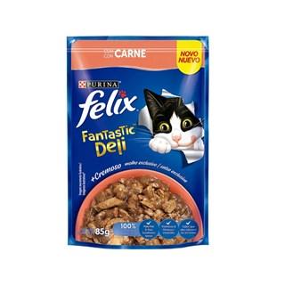 Ração Úmida Nestlé Purina Felix Fantastic Deli Sabor Carne para Gatos Adultos
