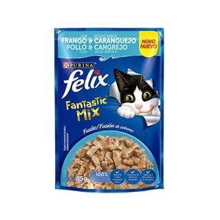 Ração Úmida Nestlé Purina Felix Fantastic Mix Sabor Frango e Caranguejo para Gatos Adultos