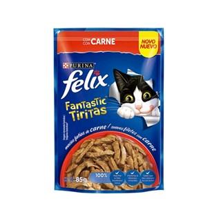 Ração Úmida Nestlé Purina Felix Fantastic Tiritas Sabor Carne para Gatos Adultos