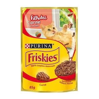 Ração úmida Nestlé Purina Friskies Sachê Carne ao Molho para Gatos Filhotes