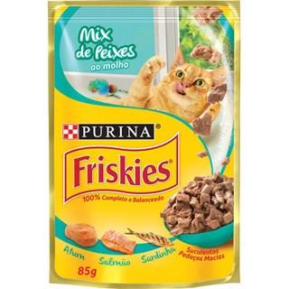 Ração úmida Nestlé Purina Friskies Sachê Mix Peixe ao Molho para Gatos