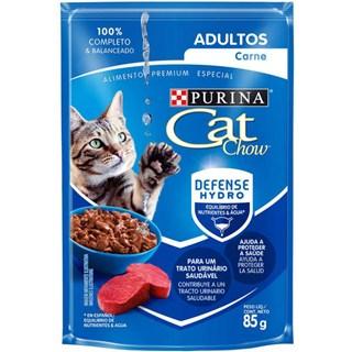 Ração Úmida Purina Cat Chow Para Gatos Adultos Sabor Carne Ao Molho