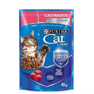 Ração Úmida Purina Cat Chow Para Gatos Castrados Sabor Carne Ao Molho