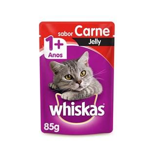 Ração Úmida Whiskas Jelly Sabor Carne para Gatos Adultos