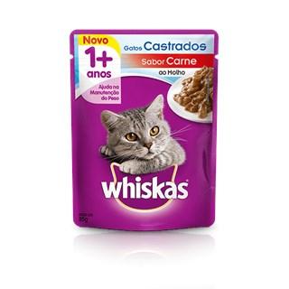Ração Úmida Whiskas Sachê Carne Ao Molho Para Gatos Adultos Castrados