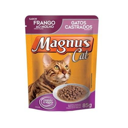 Sachê Magnus Premium Frango Ao Molho Para Gatos Castrados Adultos