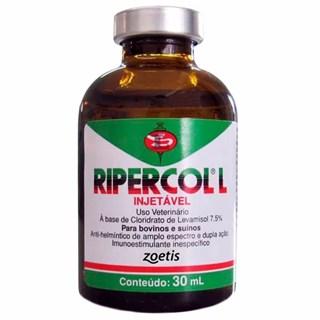 Vermífugo e Imunoestimulante Zoetis Ripercol l 7.5% Injetável Para Bovinos e Suínos